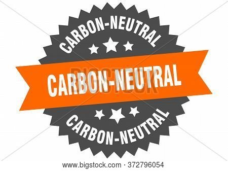 Carbon-neutral Sign. Carbon-neutral Circular Band Label. Round Carbon-neutral Sticker