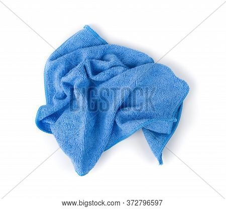 Blue Microfiber Cleaning Cloth Isolated On White Background
