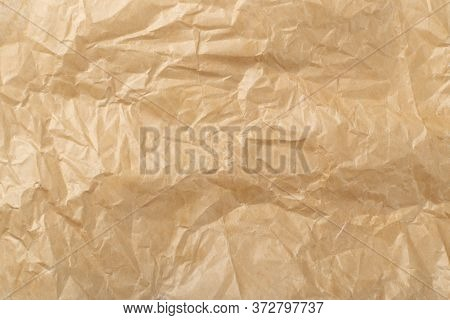 Sheet Of Brown Thin Crumpled Craft Paper Background