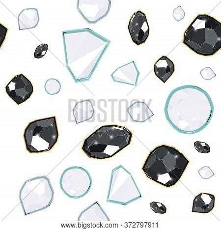Black And White Precious Gems Seamless Vector Pattern Of White Background. Luxury Jewels Geometric P