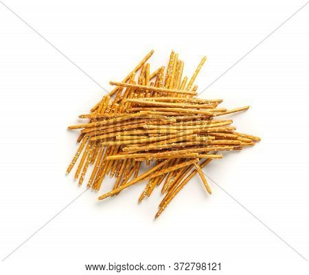 Crispy Salt Sticks With Sesame, Pretzel Sticks, Grissini Or Breadsticks