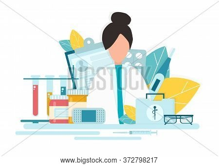 Pharmacy Concept. Creative Vector Illustration Of Female Pharmacist At Drugstore Counter, Flat Desig