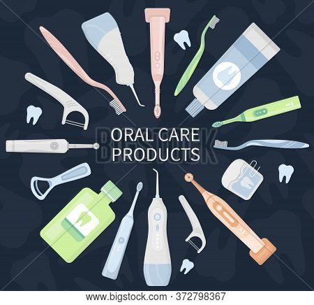 Flat Vector Illustration Set Of Electric Toothbrush, Toothpaste, Floss, Irrigator, Waterpick, Mouthw