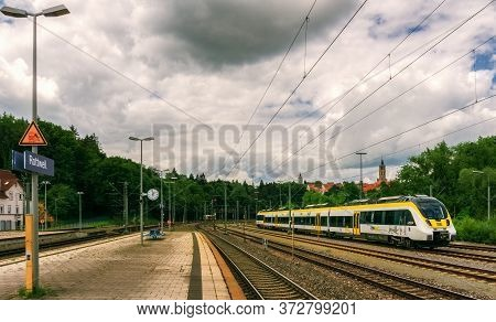 Rottweil,germany - June 20,2020:train Station This Is The View From The Platform To A Modern Train F