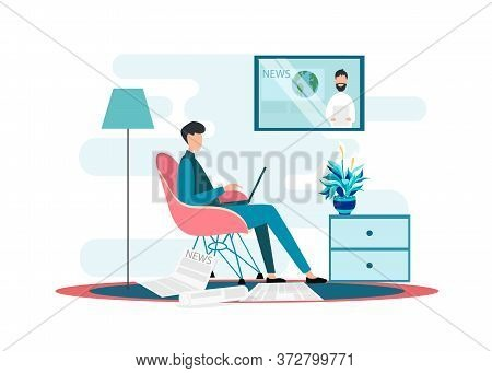 Male Character With Laptop And Newspapers Watching News Broadcast On Tv At Home, White Background. V