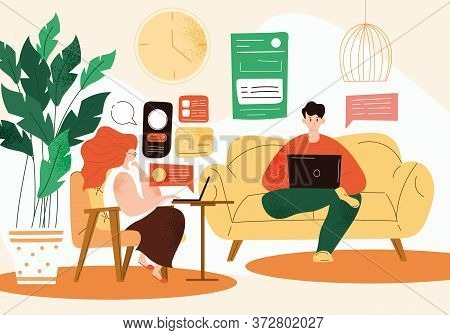 Couple Working From Home In The Living Room Using Laptop Computers On The Internet In A Telecommutin