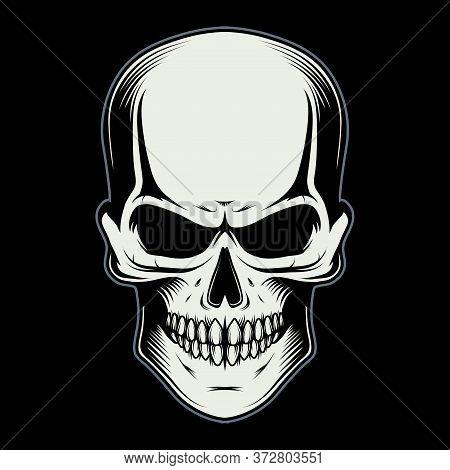 Vector Illustration Of A Skull. Human Skull For Tattoo Or T-shirt Print. Jaw Illustration For A Spor