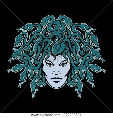 Vector Illustration Of A Gorgon Medusa. Monster For Tattoo Or T-shirt Print. Gorgon Illustration For