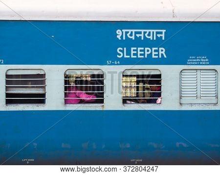 New Delhi, India - November 28, 2018: A Wagon Of A Traditional Train In India.