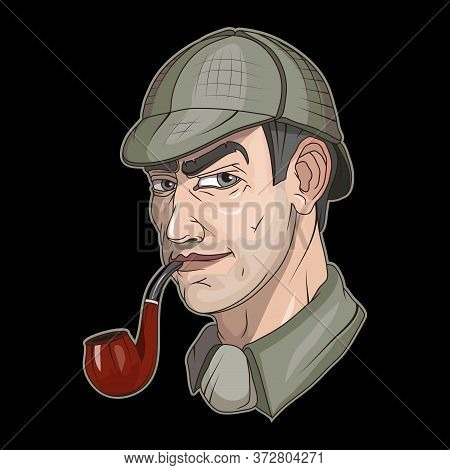 Illustration Of A Sherlock Holmes. Officer For Tattoo Or T-shirt Print. Private Detective Illustrati