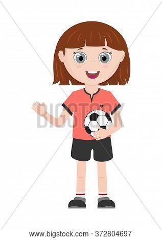 Girl Character. Young Sportive Girl With Ball. Design Element For Posters, Banners, Brochures, Cards