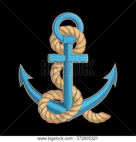 Vector Illustration Of A Ship's Anchor. Rope For Tattoo Or T-shirt Print. Anchor Illustration For A