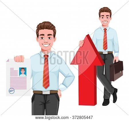 Successful Business Man, Set Of Two Poses. Handsome Businessman In Business Clothes. Cheerful Cartoo