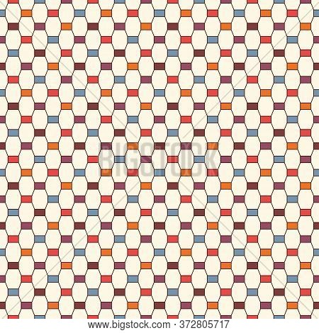 Seamless Pattern With Vertical Braid Ornament. Octagons Tile Surface Background. Modern Style Abstra