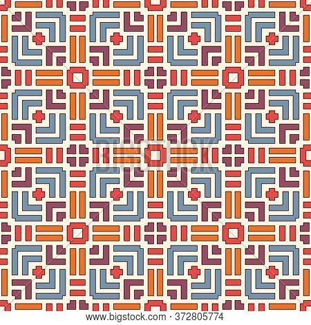 Wicker Seamless Pattern. Basket Weave Motif. Bright Colors Geometric Abstract Background With Overla