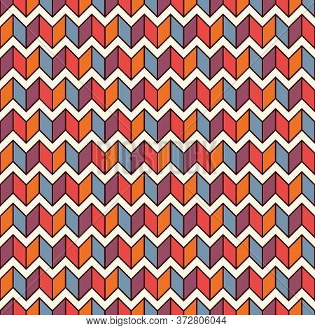 Seamless Surface Pattern With Herringbone Motif. Repeated Chevrons Wallpaper. Zigzag Lines. Jagged T