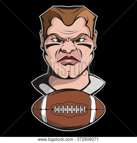 Vector Illustration Of A Rugby Player. Gamer For Tattoo Or T-shirt Print. Rugby Illustration For A S