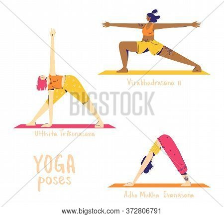 Set Of Yoga Poses. Female Characters Practice Yoga. Yoga Concept. Yoga Poses Sign. Downward Facing D
