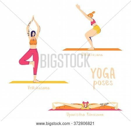 Set Of Yoga Poses. Female Characters Practice Yoga. Yoga Concept. Yoga Poses Sign. Wide-angle Seated