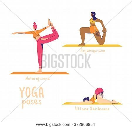 Set Of Yoga Poses. Female Characters Practice Yoga. Yoga Concept. Yoga Poses Sign. Dance, Lunge And