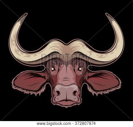 Vector Illustration Of A African Buffalo. Bull For Tattoo Or T-shirt Print. Buffalo Illustration For