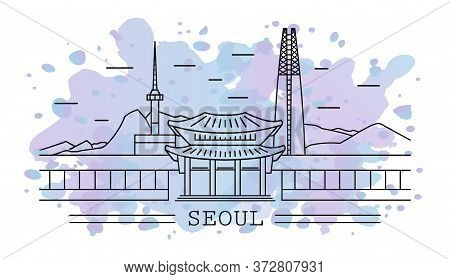 Seoul City, Line Art With Watercolor Splash Background, Include Lotte Tower, Namsan Tower, Temple, S