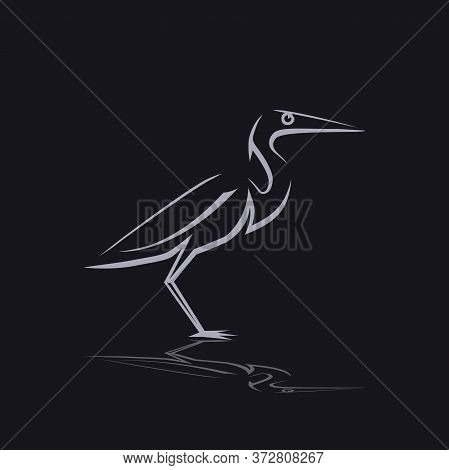 Pacific Reef Heron. Illustration Of A Pacific Heron Crest On A Gray Background.