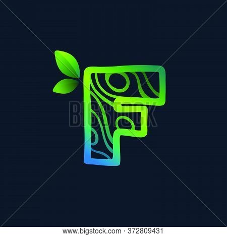 Letter F Logo With Eco Waves Pattern. Perfect Vector Green Icon For Landscape Design, Natural Print