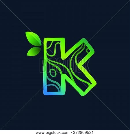 Letter K Logo With Eco Waves Pattern. Perfect Vector Green Icon For Landscape Design, Natural Print