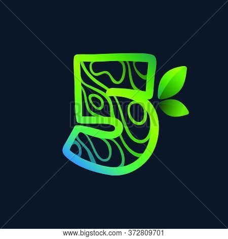 Number Five Logo With Eco Waves Pattern. Perfect Vector Green Icon For Landscape Design, Natural Pri