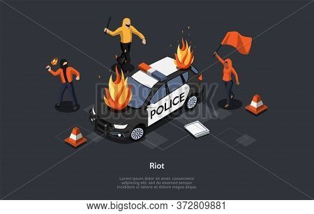 Concept Of Looting. Multi Ethnic Group Of People Break Police Car Throwing Molotov Cocktail. Aggress