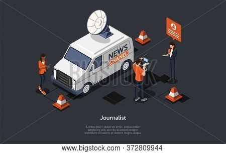 Concept Of Breaking Latest News. News Update, Online News. Characters Are Filming Reportage. Reporte