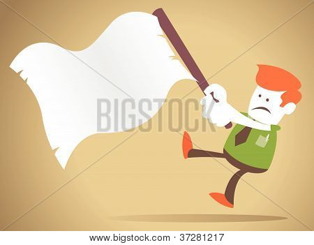 Corporate Guy Waves The White Flag Of Surrender