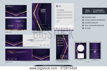 Luxury Purple Stationery Mock Up Set And Visual Brand Identity With Abstract Overlap Layers Backgrou