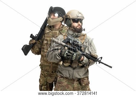 American Special Forces. Two Soldiers In Military Equipment With Weapons On A White Background, Usa