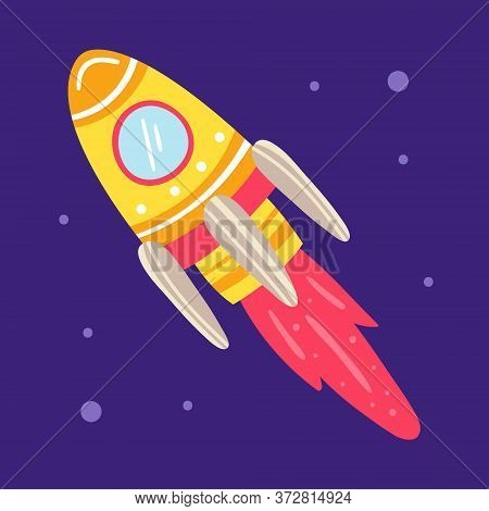 Rocket Launch, Drone, Satellite. Space Ship Vector Hand Drawn Flat Illustration, Element, Sticker, I