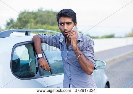 Self Confident Handsome Man Young Entrepreneur Talking On Mobile Phone Standing Outdoors By His New