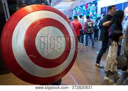 SHENZHEN, CHINA - CIRCA APRIL, 2019: close up shot of Captain America's shield as seen at UpperHills in Shenzhen.