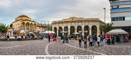 Athens, Greece - May11, 2020: The Monastiraki Square And Metro Station At Evening During The Covid-1