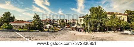 Athens, Greece - May11, 2020: Panoramic View Of The Ag Asomaton St At The Thissio Metro Station.