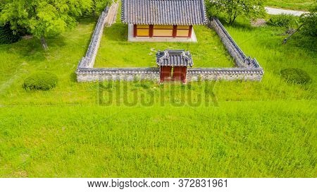 Cheongju, South Korea; May 31, 2020: Rear Aerial View Of Shrine Honoring Independence Activist, Hist