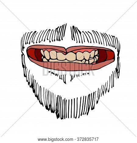 Male Grin, Mouth With Teeth, Mustache & Beard, Color Vector Illustration With Black Contour Lines Is