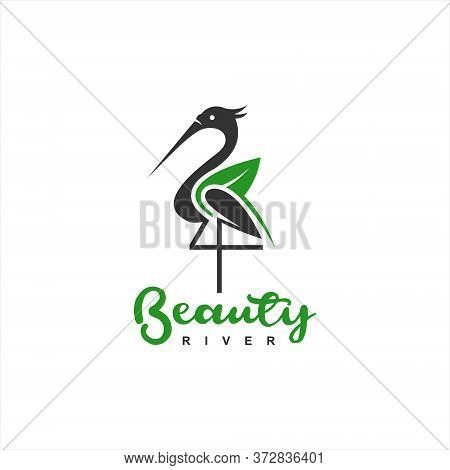Standing Heron Logo Simple Illustration Of Bird With Organic Leaves For Animal Or Icon Design Inspir