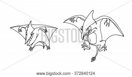 Prehistoric Reptiles Of The Jurassic Period, Flying Pterodactyls, Funny Characters, Vector Illustrat