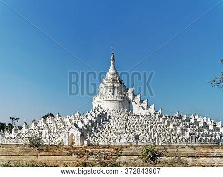 The White Hsinbyume Pagoda Or Mya Thein Dan Pagoda In Mingun City, Myanmar.