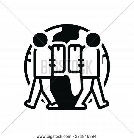 Black Solid Icon For Expat Expatriate Migrant Diaspora Emigre