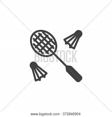 Badminton Game Vector Icon. Filled Flat Sign For Mobile Concept And Web Design. Shuttlecock And Badm