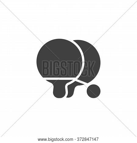 Ping Pong Game Vector Icon. Filled Flat Sign For Mobile Concept And Web Design. Ping Pong, Racket An