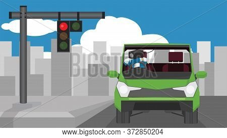 Vector And Illustration Of Transportation Concept. Surveillance Camera Man Driving Car.  Park The Ca