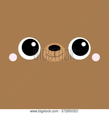 Bear Cub Square Face Head Icon. Cartoon Funny Baby Character. Cute Kawaii Animal Portrait. Kids Prin